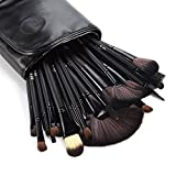 DRQ 24 PCS Professional Makeup Brush Set Hot Horse Hair Professional Makeup Kits Cosmetics Brush Set with White Cream-colored Case Bag (Black)