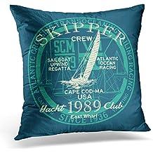 Golee Throw Pillow Cover Sail Atlantic Ocean Sailing Regatta Racing Grunge for Boy Boat Crew Decorative Pillow Case Home Decor Square 18x18 Inches Pillowcase