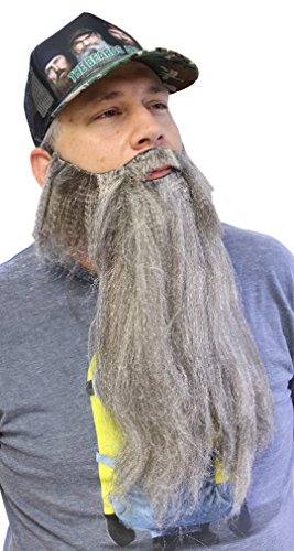 Extra Long Fake Grey Salt & Pepper Beard w/ Mustache (One Size Fits All)