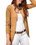 Womens Cardigans Lightweight Long Sleeve Crochet Casual Open Front Knit Cardigan Sweaters (Medium, Khaki)