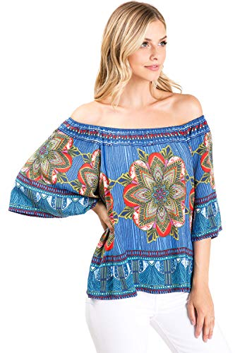 Flying Tomato Free Market Women's Off-Shoulder Floral Print Wide Sleeve Blouse (L, Blue) (Flying Tomato Blouse)