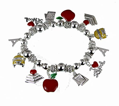 4031653 Teacher Stretch Charm Bracelet Appreciation Year End Gift Present School Bus Apple Favorite