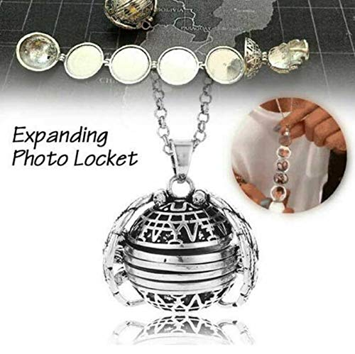 Expanding Photo Locket Necklace That Holds Pictures Angel Wings Pendant Necklaces Memory Lockets Birthday Christmas Ornaments Silver Plated for Girls Memorial Gifts Jewelry