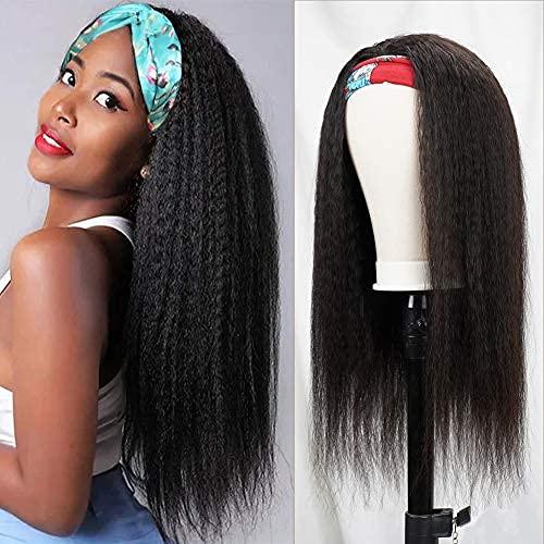 Louisville-Jefferson County Mall Kinky Straight Wigs Human Hair for inch Black Yaki Same day shipping 12 Stra Women