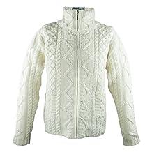100% Irish Merino Wool Aran Knit Zip Sweater with pockets by West End Knitwear