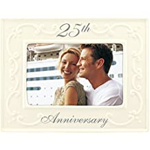 Malden International Designs Glazed Ceramic With Silver Accents 25th Anniversay Picture Frame, 4x6, White