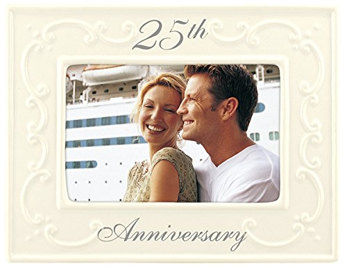 Malden International Designs Glazed Ceramic With Silver Accents 25th Anniversay Picture Frame, 4x6, White ()