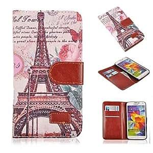 TY-Patrón de la torre Eiffel de la vendimia de la PU cuero caso de cuerpo completo con soporte de la ranura de tarjetas para i9600 samsung galaxy s5