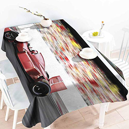Onefzc Tablecloth for Kids/Childrens,Cars Motor Sports Red Race Car Side View on a Track Leading The Pack with Motion Blur,Resistant/Spill-Proof/Waterproof Table Cover,W60X90L Gray Red Black