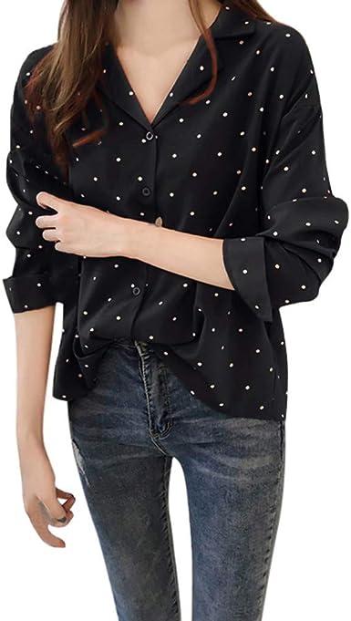 JURTEE Camisa Mujer Lunares para Mujer Cuello En V Camiseta De Solapa Manga Larga Blusa con Botones Casual Top: Amazon.es: Ropa y accesorios