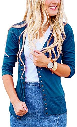 NENONA Women's V-Neck Snap Button Cardigan 3/4 Sleeve Soft Basic Knitwears Casual Sweater(Teal-M) by NENONA