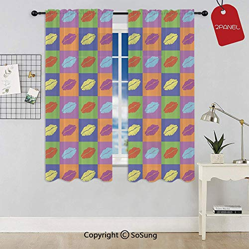 Pop Art Style Lipstick Kisses on Vibrant Colored Squares 60s Style Seductive Romantic Rod Pocket Sheer Voile Window Curtain Panels for Kids Room,Kitchen,Living Room & Bedroom,2 Panels,Each 42x63 Inch, (Minerals Lipstick Little Kisses)