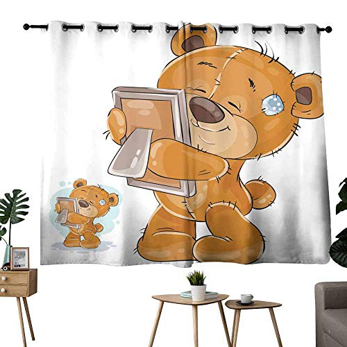 Mannwarehouse Breathable Curtain Vector Illustration of a Brown Teddy Bear Misses Someone and hugs a Photo 70%-80% Light Shading, 2 Panels,72