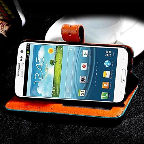 Carcasas y fundas Móviles, Para Samsung Galaxy S3 estuche, cierre magnético estilo europeo Mural en relieve de cuero de la PU Flip caja de la cartera con soporte y ranura para tarjeta para Samsung Gal Blue