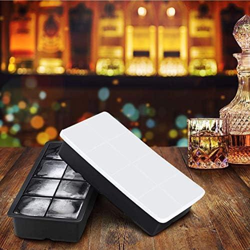 LessMo Eiswürfelform, 2er Pack XXL Silikon Eiswürfelbehälter mit Deckel, BPA-Frei Für 16 Große Eiswürfel (5cm) [Updated] (Schwarz)