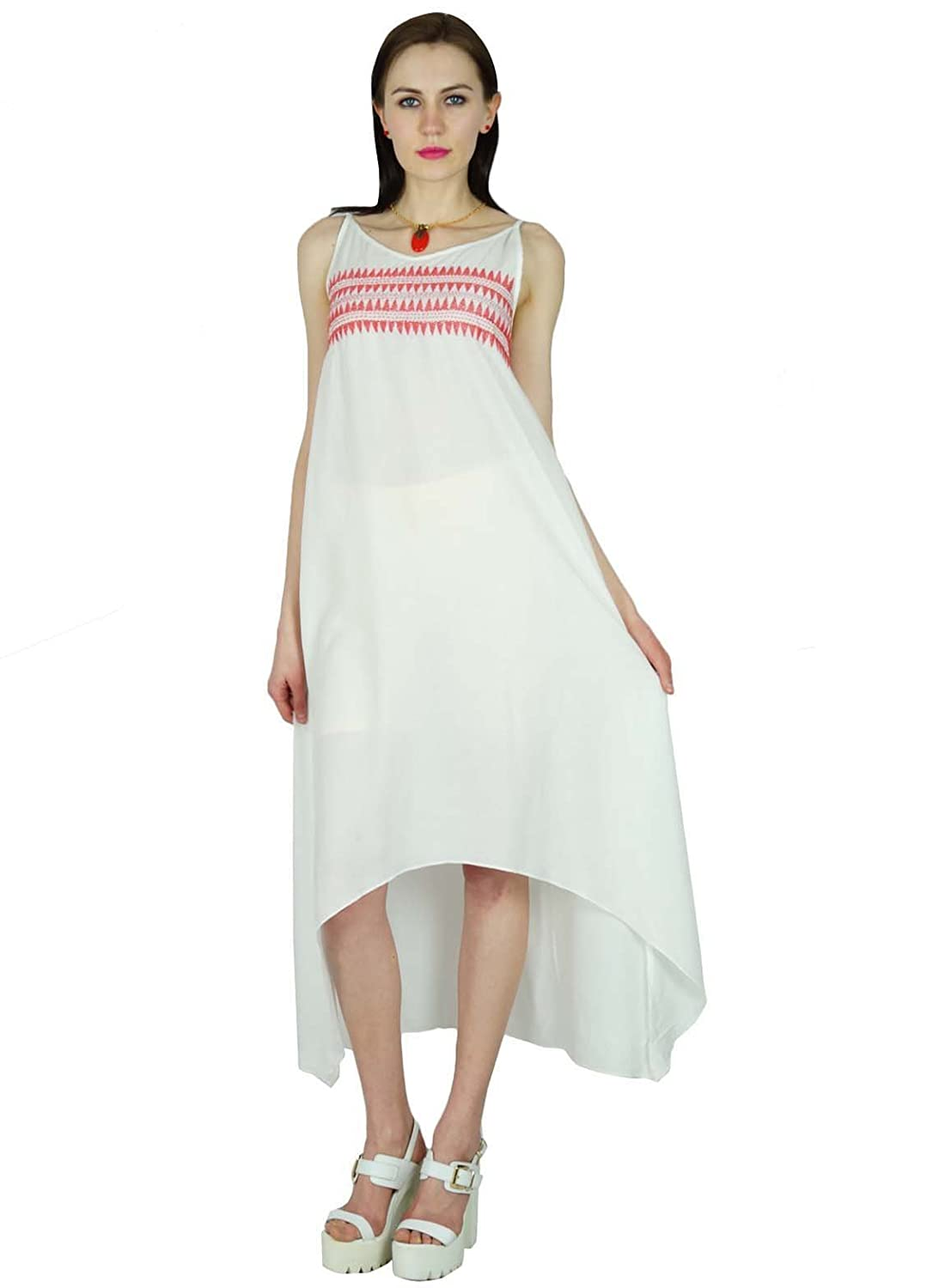 Bimba Women Summer Dress Mid Calf Length Embroidered Casual Asymmetrical Dress