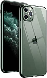UGREEN Case for Apple iPhone 11 Pro Max 6.5-Inch Shock-Absorption Cover Anti-Scratch Clear Back with Midnight Green Border