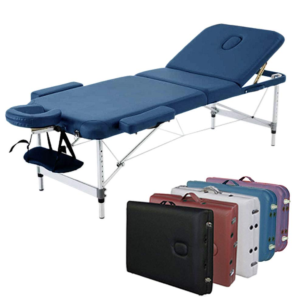 ANGEL USA 3-Section Aluminum 84 L Portable Massage Table Facial SPA Bed Tattoo w Free Carry Case Navy Blue