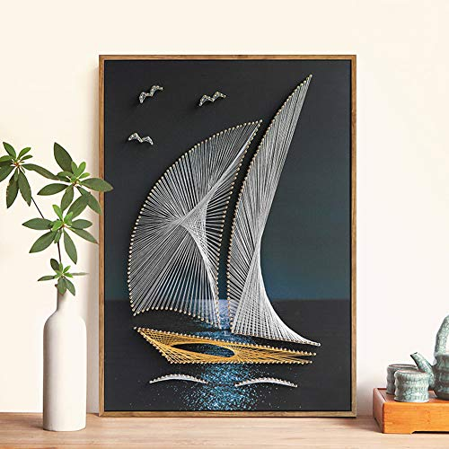 DIY Thread Winding Three-Dimensional Sailing Decoration Painting, Home Wall Decoration Painting DIY Material Package, Parent-Child Manual Interactive Game by Home Decoration (Image #1)