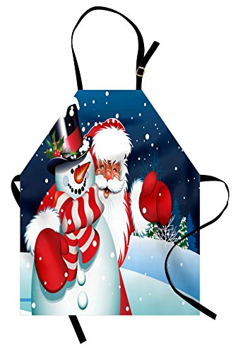 - Ambesonne Christmas Apron, Smiling Santa Claus Hugging Snowman in Cartoon Style Winter Hills Fir Trees, Unisex Kitchen Bib with Adjustable Neck for Cooking Gardening, Adult Size, White Blue