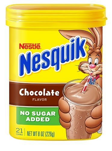 Nesquik Chocolate Powder, No Sugar Added, 8-Ounce Canisters (Pack of 4)