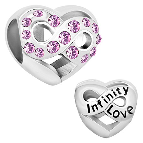 Cherris Birthday Charms Heart Infinity Love Birthstone Charms Beads for Snake Chain Bracelets (June) (June Charm Birthstone Girl)