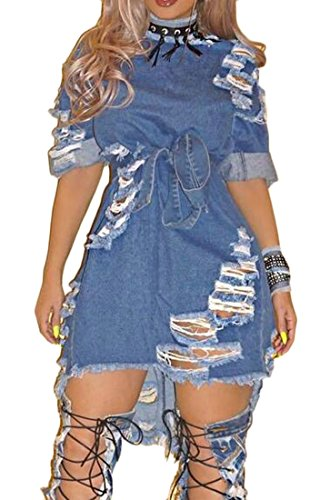 Blue Womens Hole Asymmetrical Ladies Cowboy Dress up Dark Sleeve Midi Rolled Sexy Frayed Vogue Cromoncent q6BwpXnxCp