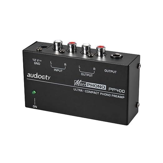Audiocity PP400 - Preamplificador previo de Phono. Salida auriculares. Fuente alimentación clavija española. Entradas y salidas RCA. Conecta ...