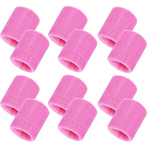 (Bememo 12 Pack Sweatbands Sports Wristband Cotton Sweat Band for Men and Women, Good for Tennis, Basketball, Running, Gym, Working Out (Pink))