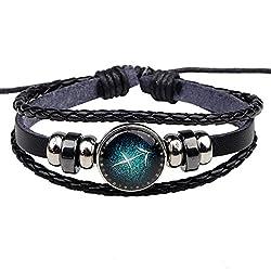 Winter's Secret Twelve Constellations Sagittarius Black Leather Braided Alloy Beads Adjustable Bracelet