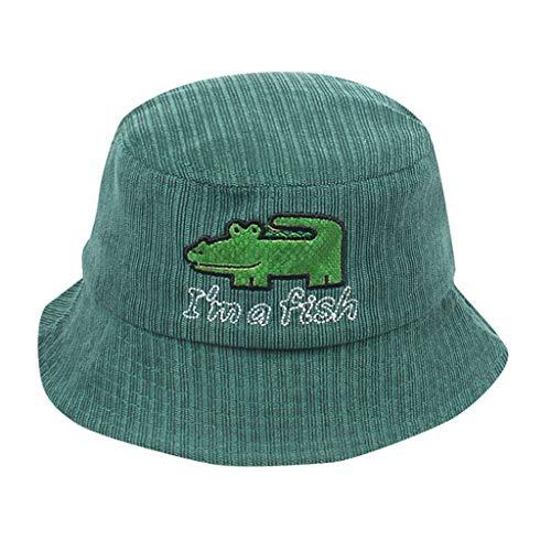 - Bucket Hat for Boys and Girls Cute Cartoon Fisherman Hat Sunscreen Outdoors Corduroy Cap Sun Protection(Green,48-53CM)