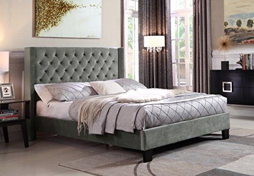 Zis-Azure Upholstered Wingback Platform Queen Bed, Gray