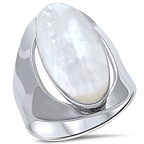 (Oxford Diamond Co Sterling Silver Oval Mother of Pearl Inlay Ring Sizes 8 (Mother of Pearl, 7))