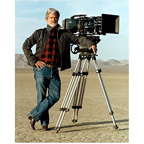 George Lucas 8 inch x 10 inch Photo Writer/Director Star Wars Indiana Jones in Desert Leaning on Camera kn