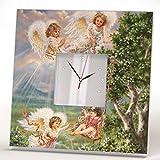 Angels Kids Paradise Wall Clock Framed Mirror Decor Art Print Home Room Design