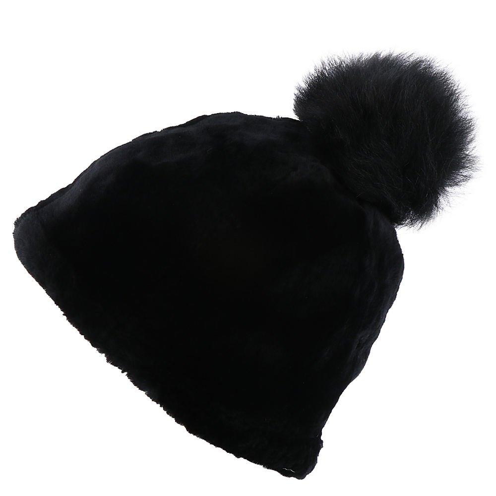 UGG Women's Exposed Sheepskin Beanie Black LG/XL