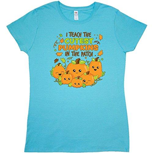 Inktastic - I Teach the Cutest Pumpkins in Junior Fit T-Shirt Medium Scuba Blue
