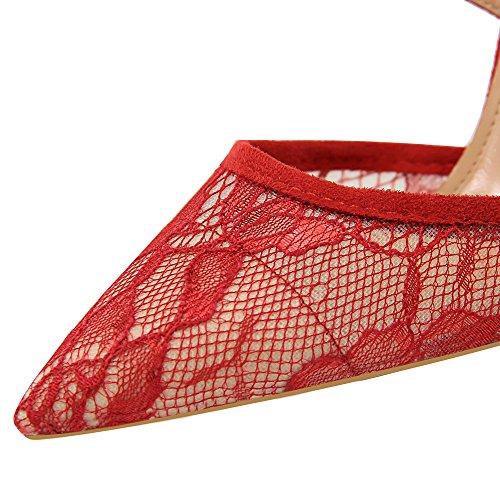 Cross Sexy Lace und Hohen LIANGXIE Mund Absätzen Flachen Hochhackigen Bronze Europäischen Amerikanischen Sandalen Wies Stil Net Strap mit Schuhe mit Xiaoqi Hohlen wpxxgq4Ia
