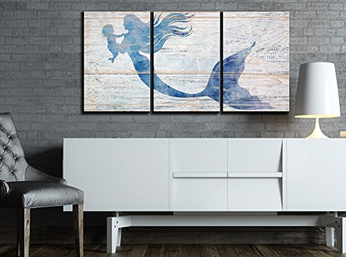 wall26 - 3 Piece Canvas Wall Art - Mother Mermaid and Baby Mermaid on Rustic Wood Background (Stye 2) - Modern Home Decor Stretched and Framed Ready to Hang - 24