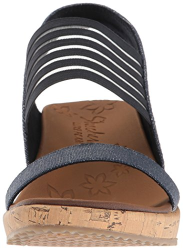 Skechers Cali Women 's Beverlee Smitten Kitten Wedge Sandalo, Navy Cork
