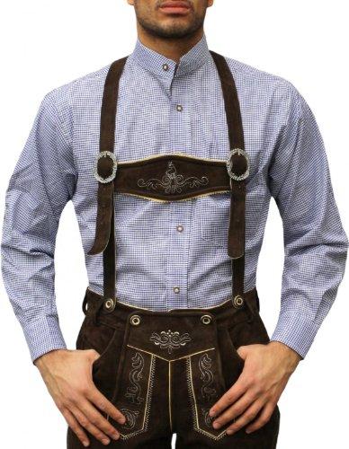 Trachtenhemd mit Stehkragen für Trachtenlederhosen Dunkelblau/kariert, Hemdgröße:XL