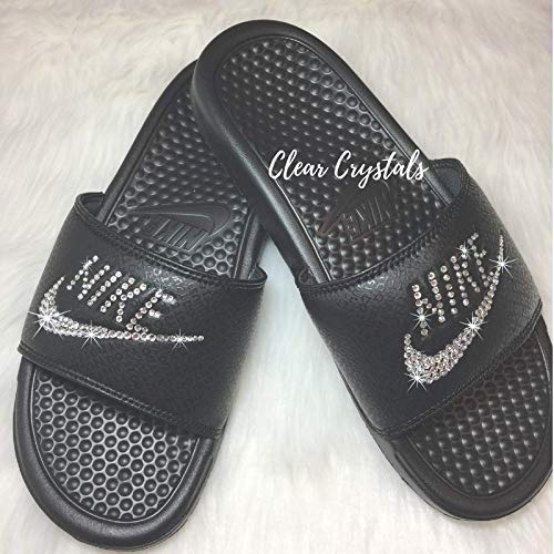 cf6db5a416e5 Sneakers   Athletic Shoes Bling NIKE SLIDES with Swarovski Crystals ALL  BLACK Womens NIKE Benassi JDI ...