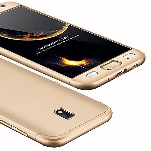 Galaxy J5 Pro Case, Ranyi [Full Body 3 in 1] [Slim & Thin Fit Tightly] [360 Degree Protection] Hybrid Bumper 3 in 1 Hard Case for Samsung Galaxy J5 Pro International Version (2017), gold