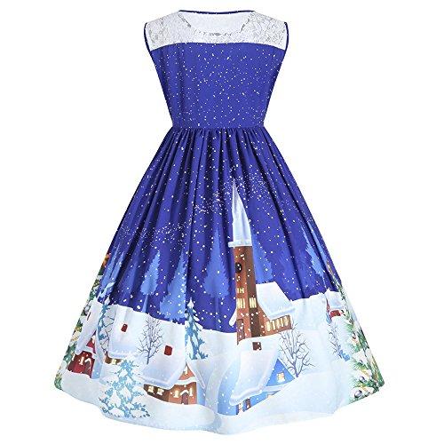DressLily Damen Kleid, Chrismas Kleid, Weinachten Kleid, ohne Ärmen,Blau,
