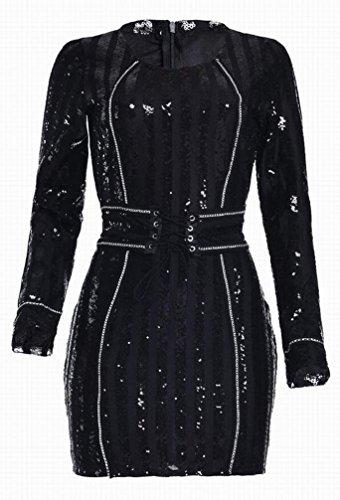 Paillettes Domple Des Femmes Sequin Lacer Robe Mini-club De Bandage Noir Moulante
