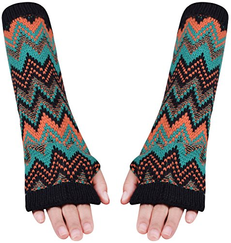 Fingerless Mitts Knit Pattern (Knit Fingerless Arm Warmers Long Half Finger Gloves Mittens for Girls Teal Black)