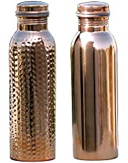 HealthGoodsIn - Set of 2 Pure Copper Water Bottles 950 ML | Set of Handmade, Joint-Free Copper Water Bottles | Copper Hammered and Plain Water Bottle Set | Leak-Proof Ayurvedic Copper Water Bottle