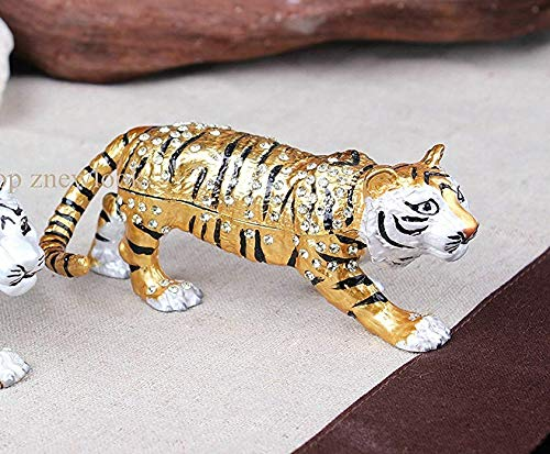 znewlook Crystals Tigers Hinged Jeweled Trinket Box Tiger Bejeweled Trinket Jewelry Box
