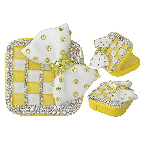 KAKA(TM) Fashion Box Kit 3D Handmade Lemon Rhinestone Bling Crystal Design White Bowknot Decorated Mini Contact lenses Case