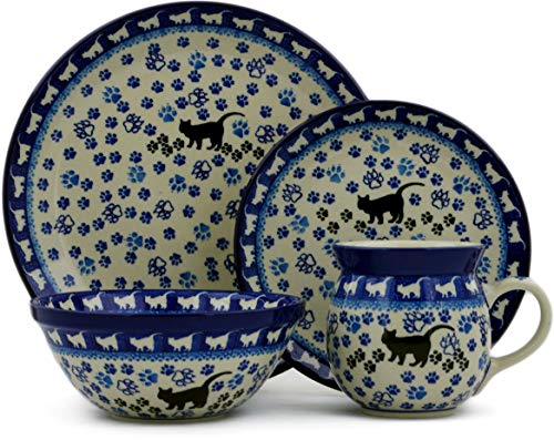 (Polish Pottery 4-Piece Place Setting made by Ceramika Artystyczna (Boo Boo Kitty Paws Theme) + Certificate of Authenticity)